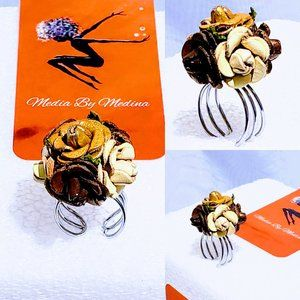 🆕Coffee & Cream Leather Flower Ring, Adjustable💋